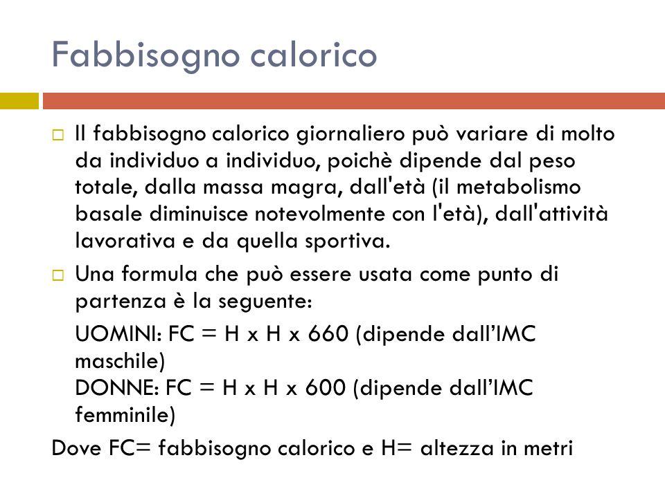 Fabbisogno calorico Il fabbisogno calorico giornaliero può variare di molto da individuo a individuo, poichè dipende dal peso totale, dalla massa magr