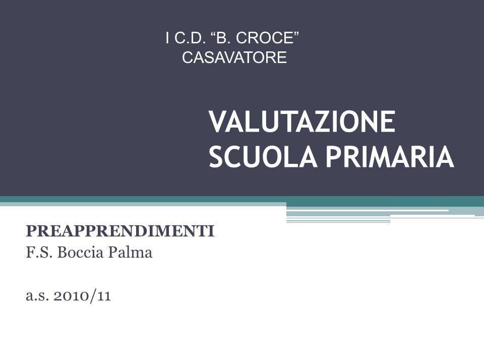VALUTAZIONE SCUOLA PRIMARIA PREAPPRENDIMENTI F.S.Boccia Palma a.s.