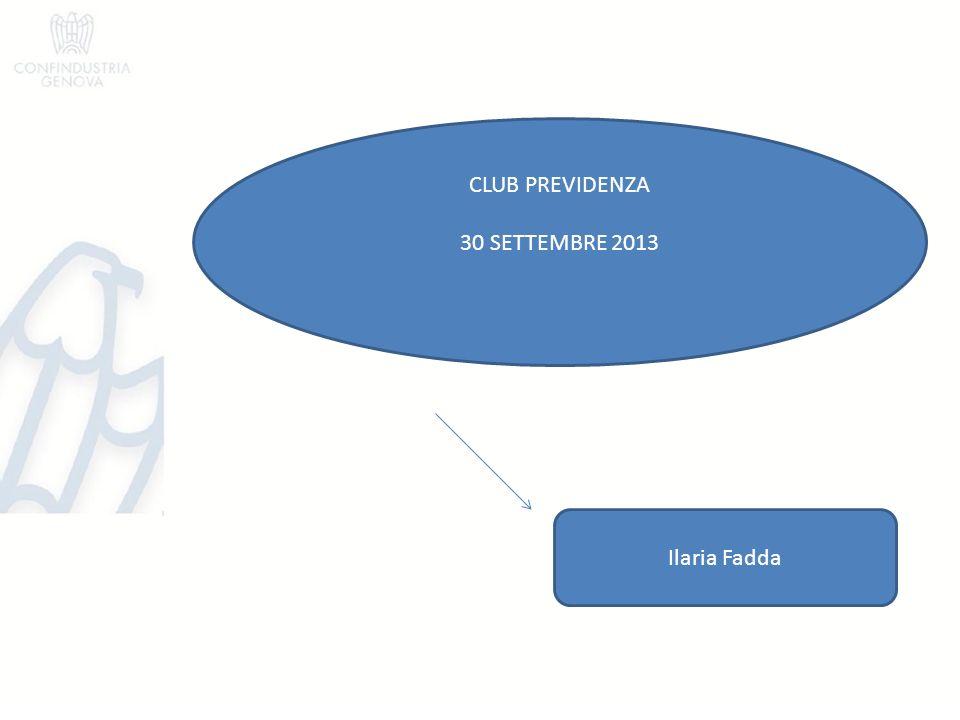 CLUB PREVIDENZA 30 SETTEMBRE 2013 Ilaria Fadda