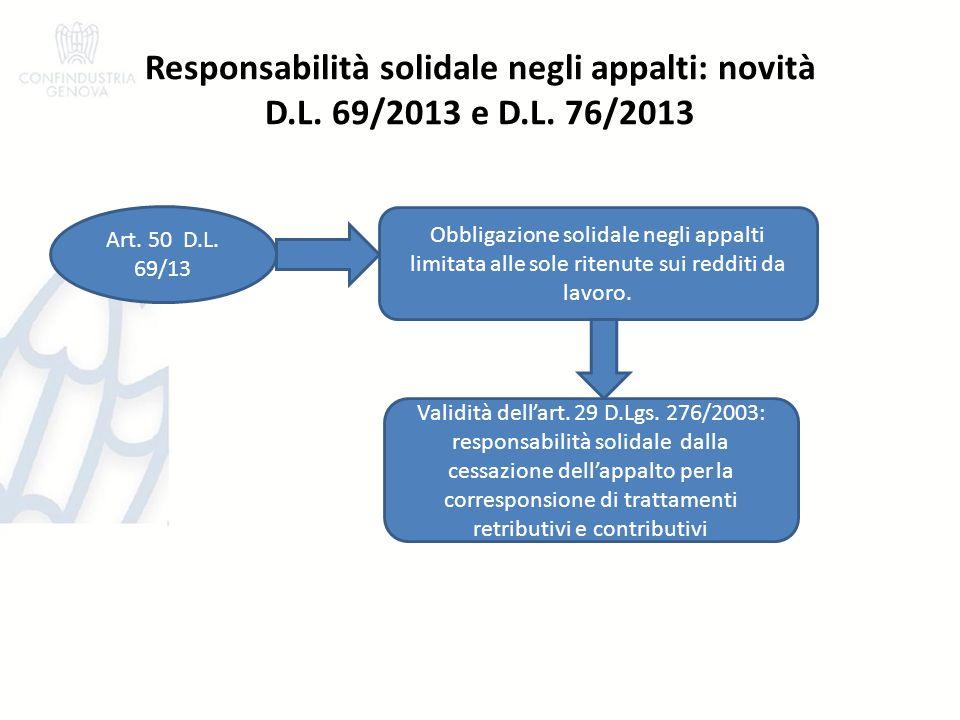 Responsabilità solidale negli appalti: novità D.L.