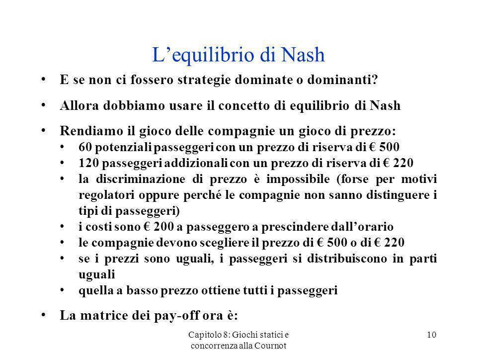 Lequilibrio di Nash E se non ci fossero strategie dominate o dominanti? Allora dobbiamo usare il concetto di equilibrio di Nash Rendiamo il gioco dell