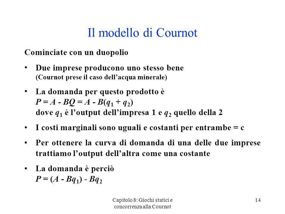 Il modello di Cournot Cominciate con un duopolio Due imprese producono uno stesso bene (Cournot prese il caso dellacqua minerale) La domanda per quest