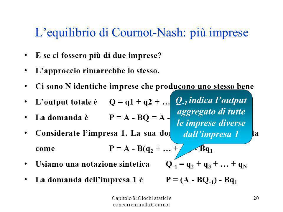 Lequilibrio di Cournot-Nash: più imprese E se ci fossero più di due imprese? Lapproccio rimarrebbe lo stesso. Ci sono N identiche imprese che producon