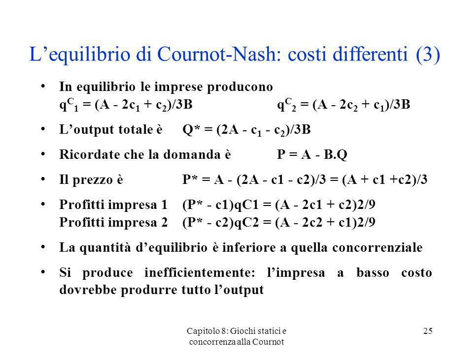 Lequilibrio di Cournot-Nash: costi differenti (3) In equilibrio le imprese producono q C 1 = (A - 2c 1 + c 2 )/3Bq C 2 = (A - 2c 2 + c 1 )/3B Loutput
