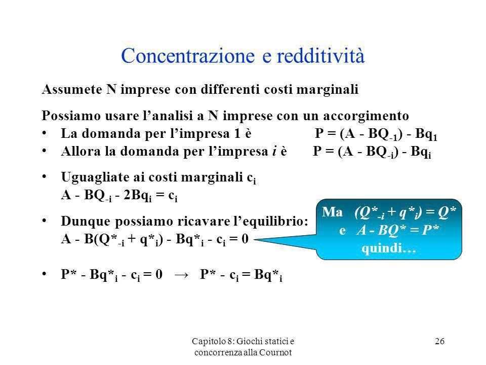 Concentrazione e redditività Assumete N imprese con differenti costi marginali Possiamo usare lanalisi a N imprese con un accorgimento La domanda per