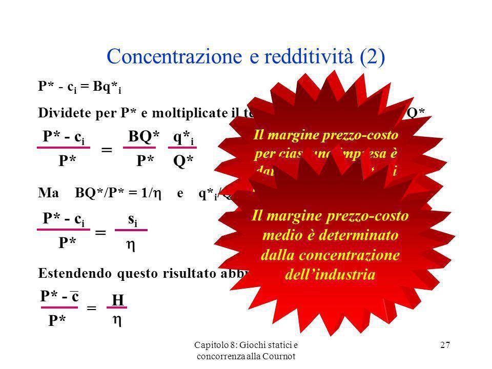 Concentrazione e redditività (2) P* - c i = Bq* i Dividete per P* e moltiplicate il termine di destra per Q*/Q* Ma BQ*/P* = 1/ e q* i /Q* = s i perciò