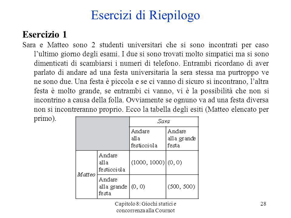 Capitolo 8: Giochi statici e concorrenza alla Cournot 28 Esercizio 1 Sara e Matteo sono 2 studenti universitari che si sono incontrati per caso lultim
