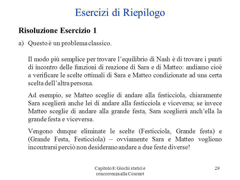 Capitolo 8: Giochi statici e concorrenza alla Cournot 29 Risoluzione Esercizio 1 a)Questo è un problema classico. Il modo più semplice per trovare leq