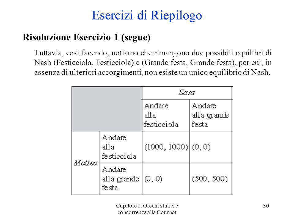 Capitolo 8: Giochi statici e concorrenza alla Cournot 30 Risoluzione Esercizio 1 (segue) Tuttavia, così facendo, notiamo che rimangono due possibili e