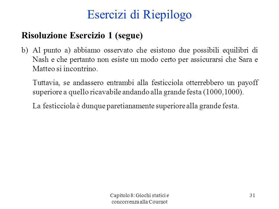 Capitolo 8: Giochi statici e concorrenza alla Cournot 31 Risoluzione Esercizio 1 (segue) b)Al punto a) abbiamo osservato che esistono due possibili eq