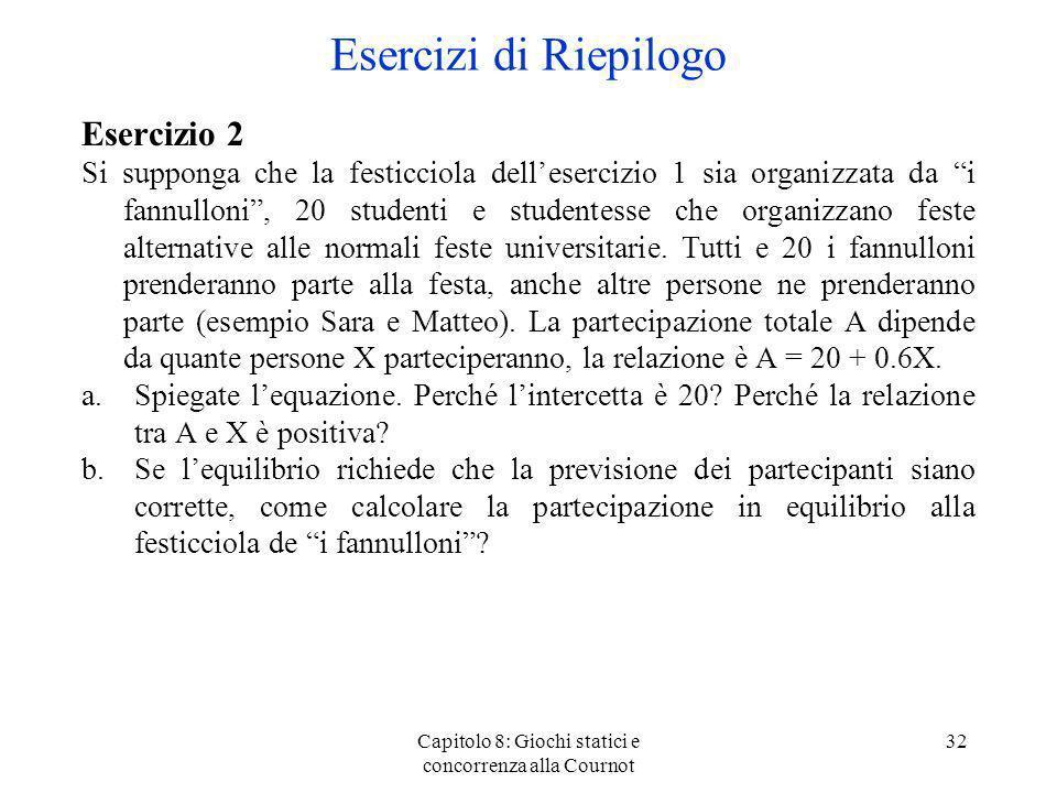 Capitolo 8: Giochi statici e concorrenza alla Cournot 32 Esercizio 2 Si supponga che la festicciola dellesercizio 1 sia organizzata da i fannulloni, 2
