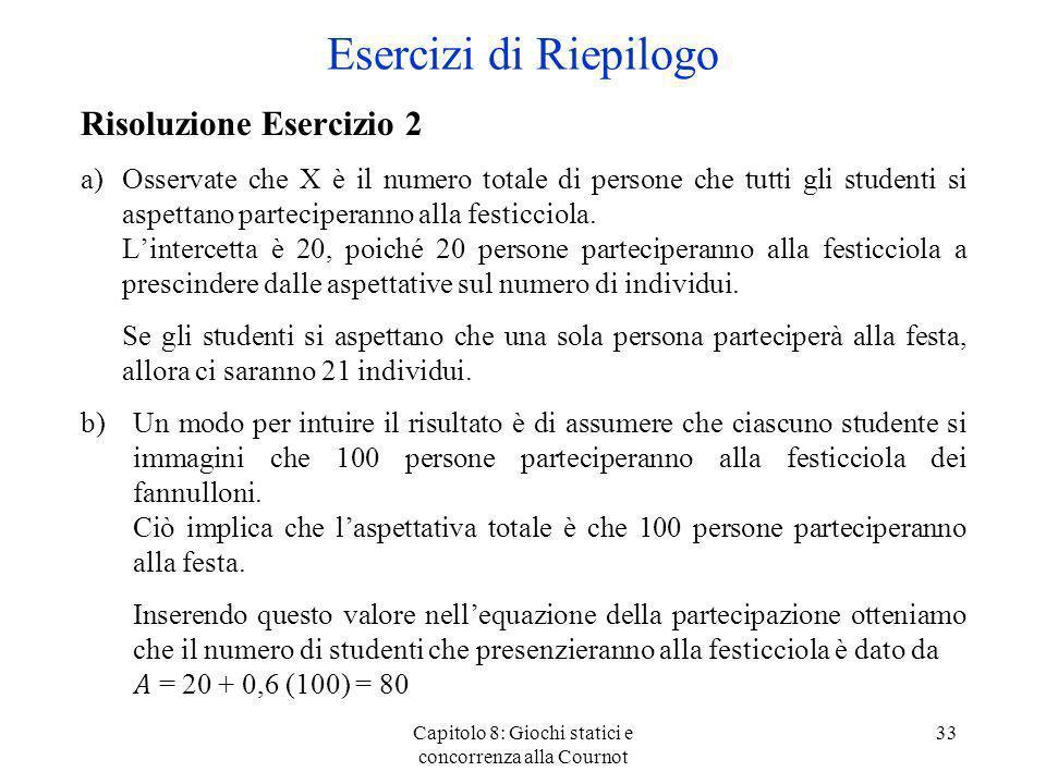 Capitolo 8: Giochi statici e concorrenza alla Cournot 33 Risoluzione Esercizio 2 a)Osservate che X è il numero totale di persone che tutti gli student