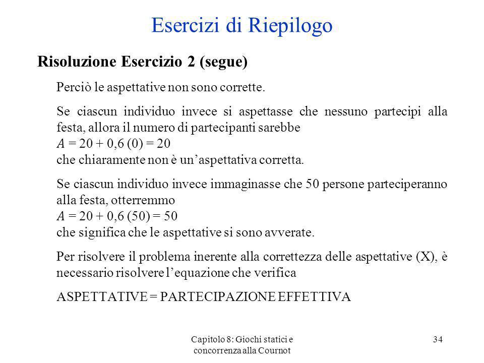 Capitolo 8: Giochi statici e concorrenza alla Cournot 34 Risoluzione Esercizio 2 (segue) Perciò le aspettative non sono corrette. Se ciascun individuo