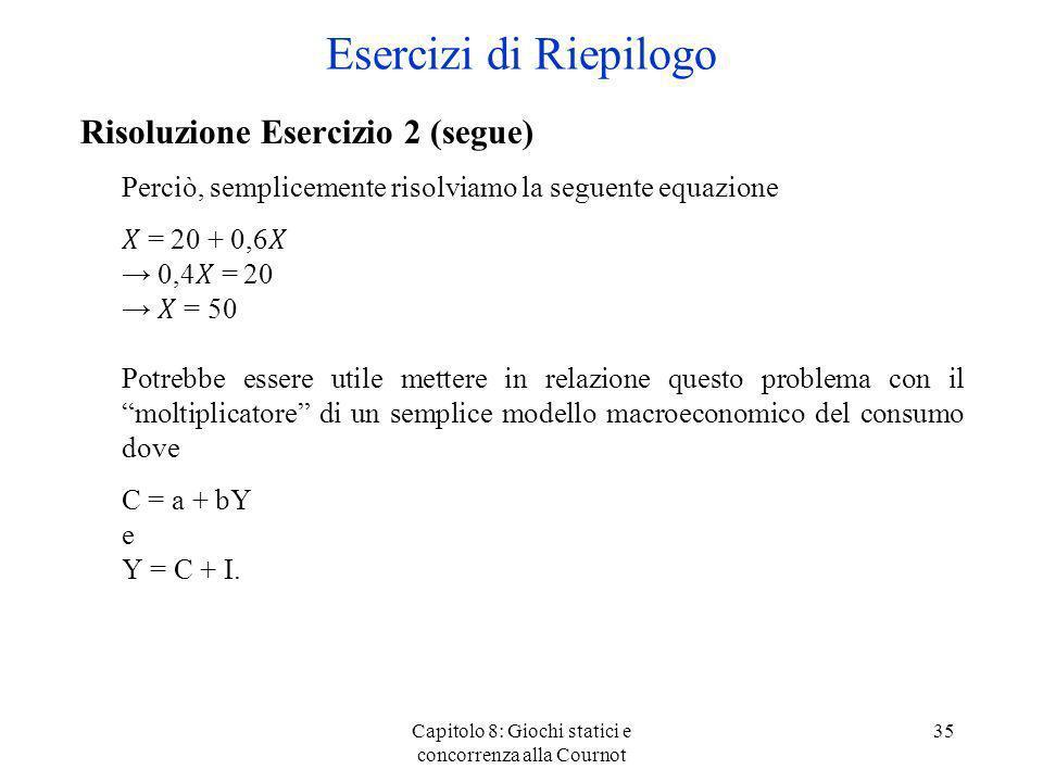 Capitolo 8: Giochi statici e concorrenza alla Cournot 35 Risoluzione Esercizio 2 (segue) Perciò, semplicemente risolviamo la seguente equazione = 20 +