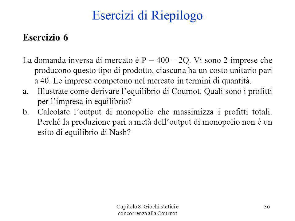 Capitolo 8: Giochi statici e concorrenza alla Cournot 36 Esercizio 6 La domanda inversa di mercato è P = 400 – 2Q. Vi sono 2 imprese che producono que