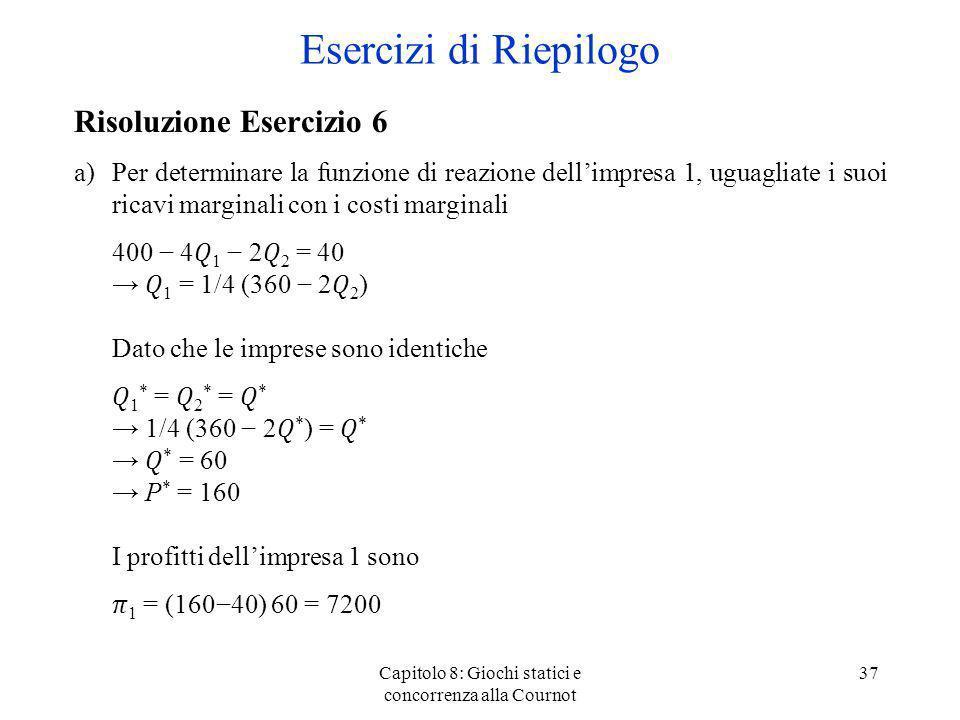 Capitolo 8: Giochi statici e concorrenza alla Cournot 37 Risoluzione Esercizio 6 a)Per determinare la funzione di reazione dellimpresa 1, uguagliate i