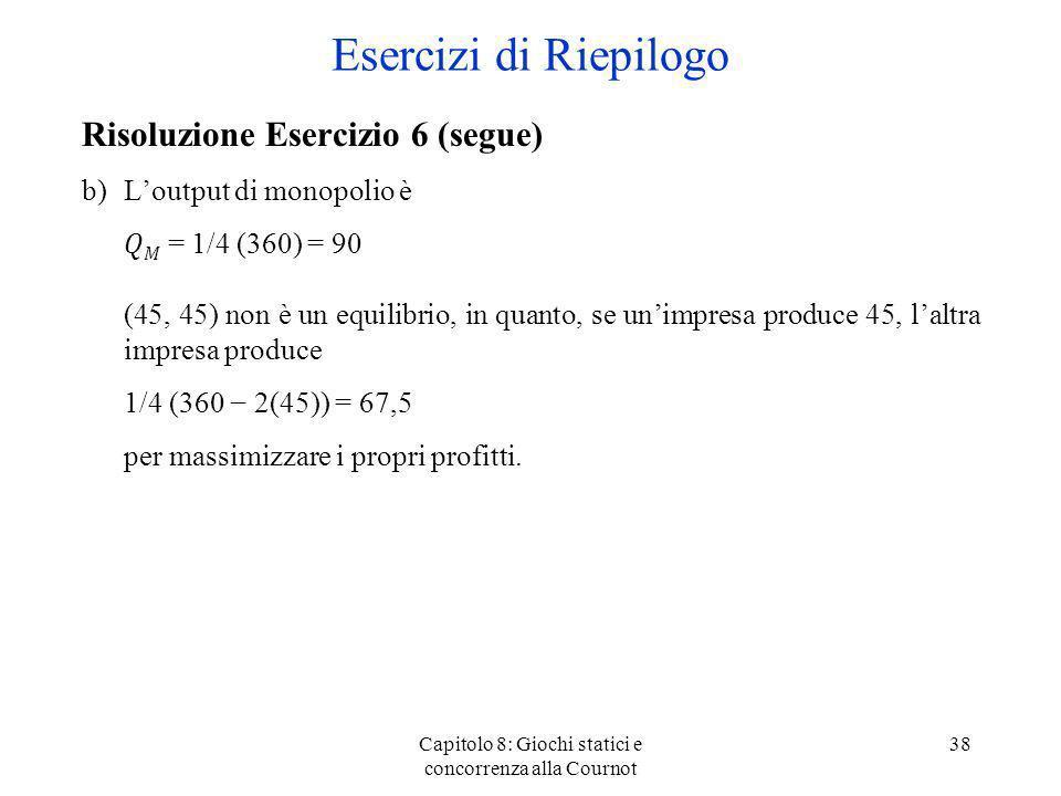 Capitolo 8: Giochi statici e concorrenza alla Cournot 38 Risoluzione Esercizio 6 (segue) b)Loutput di monopolio è = 1/4 (360) = 90 (45, 45) non è un e