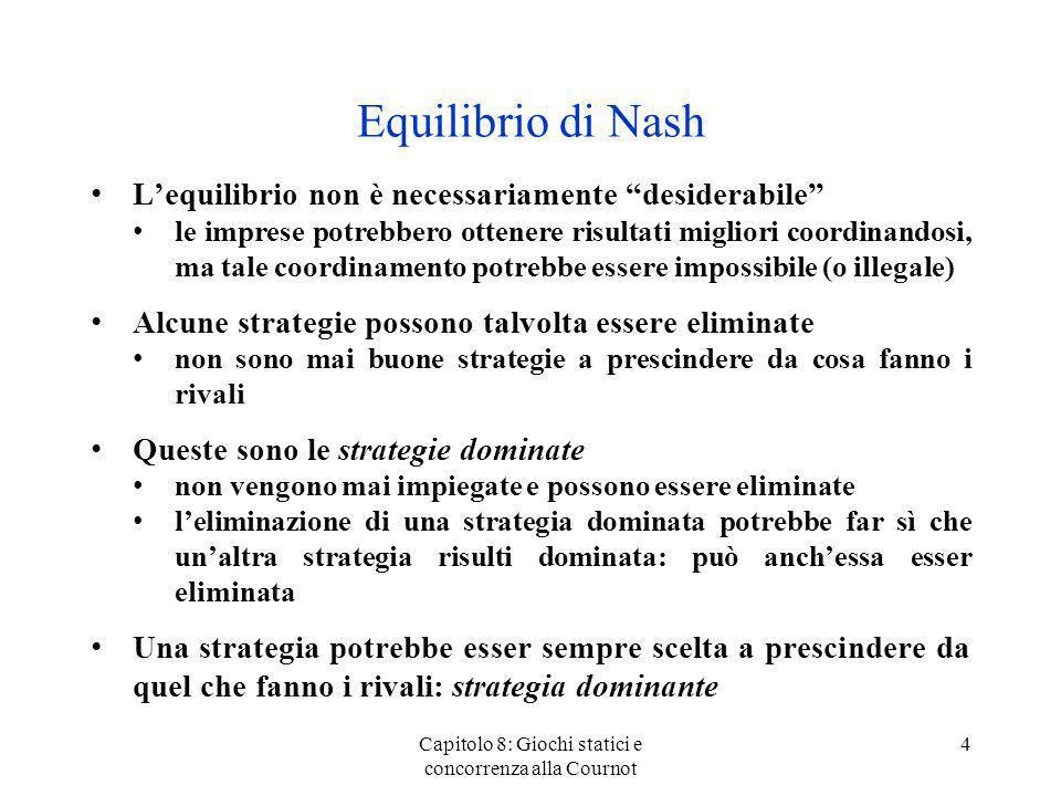 Lequilibrio di Cournot-Nash: costi differenti (3) In equilibrio le imprese producono q C 1 = (A - 2c 1 + c 2 )/3Bq C 2 = (A - 2c 2 + c 1 )/3B Loutput totale èQ* = (2A - c 1 - c 2 )/3B Ricordate che la domanda èP = A - B.Q Il prezzo èP* = A - (2A - c1 - c2)/3 = (A + c1 +c2)/3 Profitti impresa 1(P* - c1)qC1 = (A - 2c1 + c2)2/9 Profitti impresa 2(P* - c2)qC2 = (A - 2c2 + c1)2/9 La quantità dequilibrio è inferiore a quella concorrenziale Si produce inefficientemente: limpresa a basso costo dovrebbe produrre tutto loutput Capitolo 8: Giochi statici e concorrenza alla Cournot 25