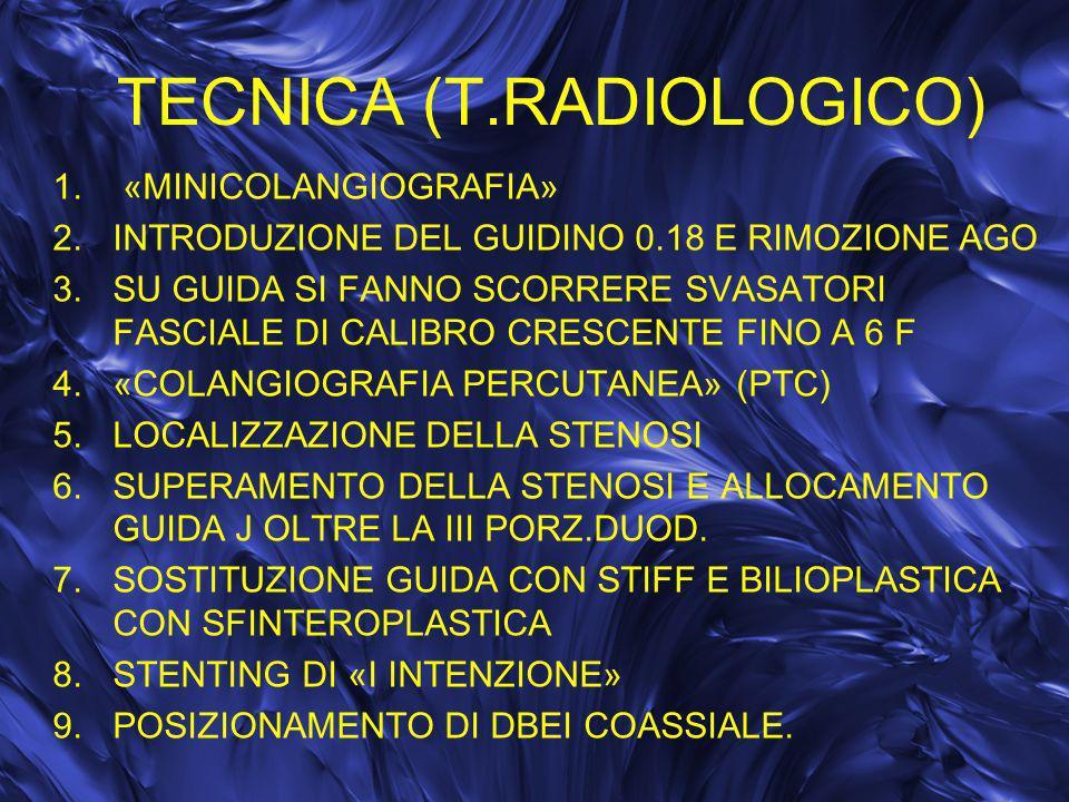 TECNICA (T.RADIOLOGICO) 1. «MINICOLANGIOGRAFIA» 2.INTRODUZIONE DEL GUIDINO 0.18 E RIMOZIONE AGO 3.SU GUIDA SI FANNO SCORRERE SVASATORI FASCIALE DI CAL