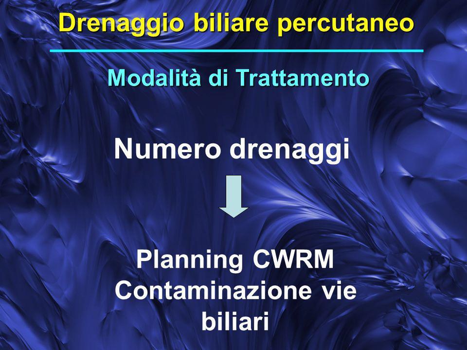 Modalità di Trattamento Drenaggio biliare percutaneo Numero drenaggi Planning CWRM Contaminazione vie biliari