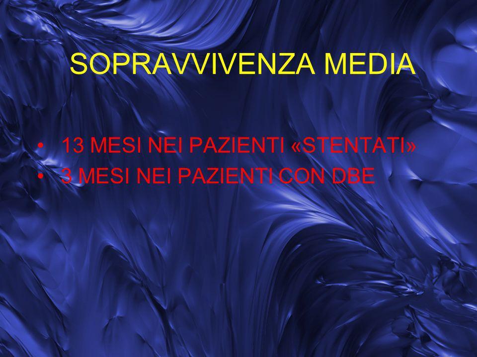 SOPRAVVIVENZA MEDIA 13 MESI NEI PAZIENTI «STENTATI» 3 MESI NEI PAZIENTI CON DBE