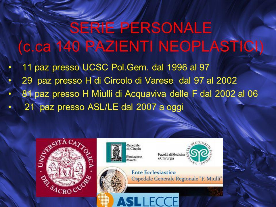 SERIE PERSONALE (c.ca 140 PAZIENTI NEOPLASTICI) 11 paz presso UCSC Pol.Gem. dal 1996 al 97 29 paz presso H di Circolo di Varese dal 97 al 2002 81 paz
