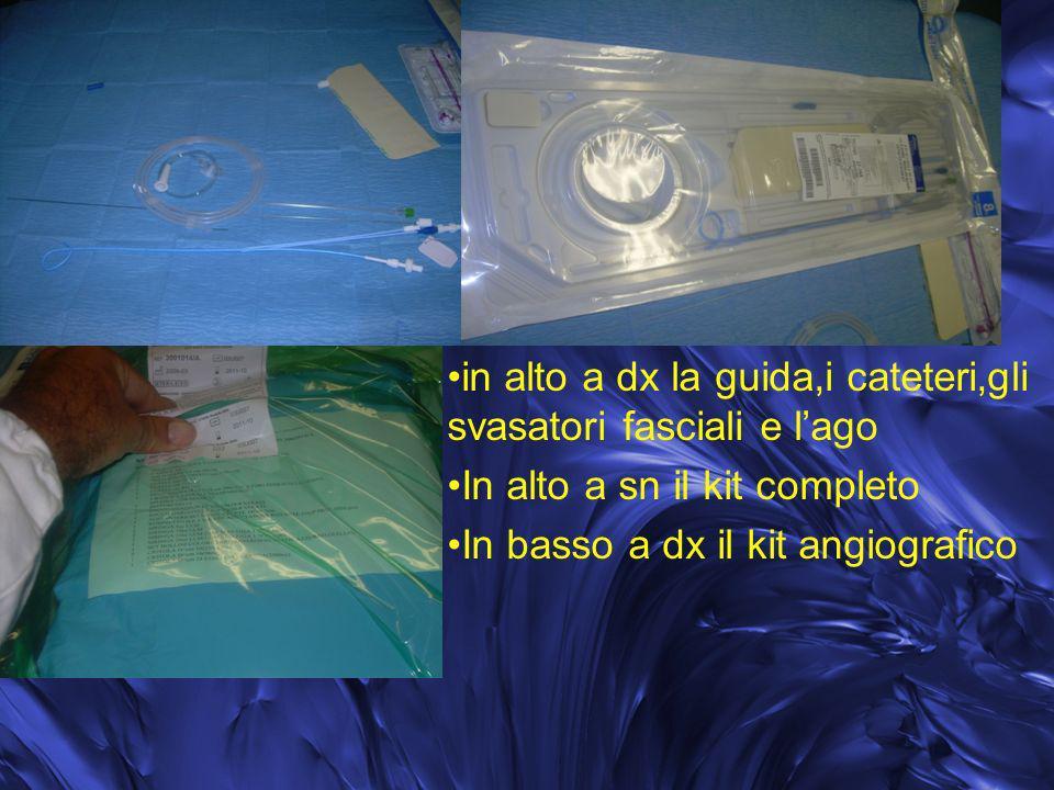 in alto a dx la guida,i cateteri,gli svasatori fasciali e lago In alto a sn il kit completo In basso a dx il kit angiografico