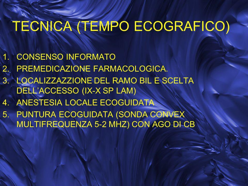 TECNICA (TEMPO ECOGRAFICO) 1.CONSENSO INFORMATO 2.PREMEDICAZIONE FARMACOLOGICA. 3.LOCALIZZAZZIONE DEL RAMO BIL E SCELTA DELLACCESSO (IX-X SP LAM) 4.AN