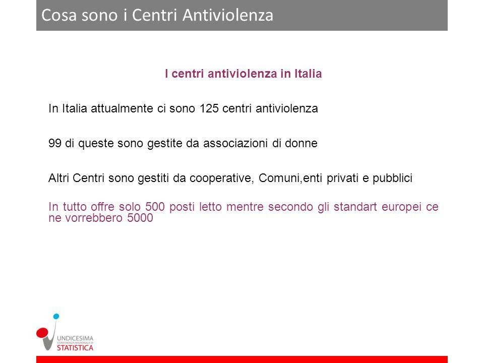 Cosa sono i Centri Antiviolenza I centri antiviolenza in Italia In Italia attualmente ci sono 125 centri antiviolenza 99 di queste sono gestite da ass
