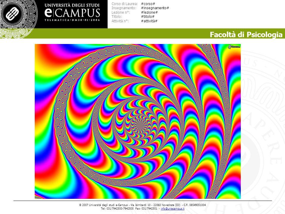 Facoltà di Psicologia Corso di Laurea: Insegnamento: Lezione n°: Titolo: Attività n°: © 2007 Universit à degli studi e-Campus - Via Isimbardi 10 - 22060 Novedrate (CO) - C.F.