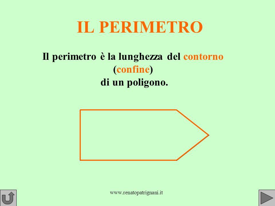 www.renatopatrignani.it IL PERIMETRO Il perimetro è la lunghezza del contorno (confine) di un poligono.
