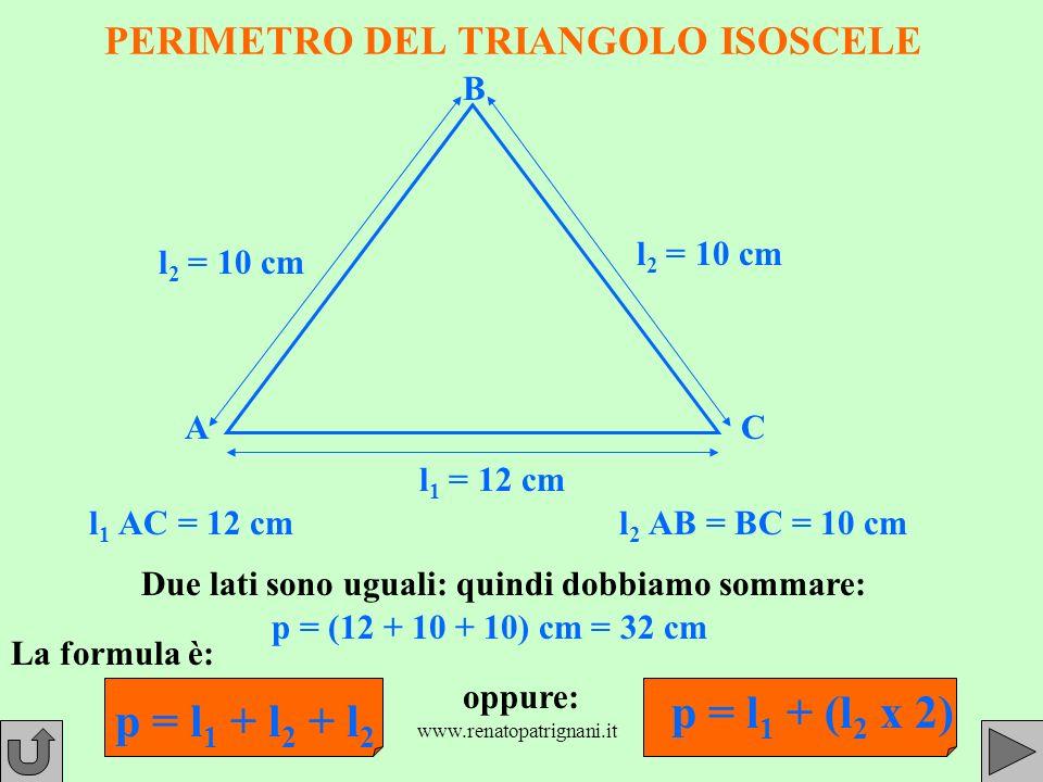 www.renatopatrignani.it PERIMETRO DEL TRIANGOLO ISOSCELE AC B l1 l1 AC = 12 cml2 l2 AB = BC = 10 cm l 1 = 12 cm l 2 = 10 cm Due lati sono uguali: quindi dobbiamo sommare: p = (12 + 10 + 10) cm = 32 cm La formula è: p = l 1 + l 2 + l 2 l 2 = 10 cm oppure: p = l 1 + (l 2 x 2)