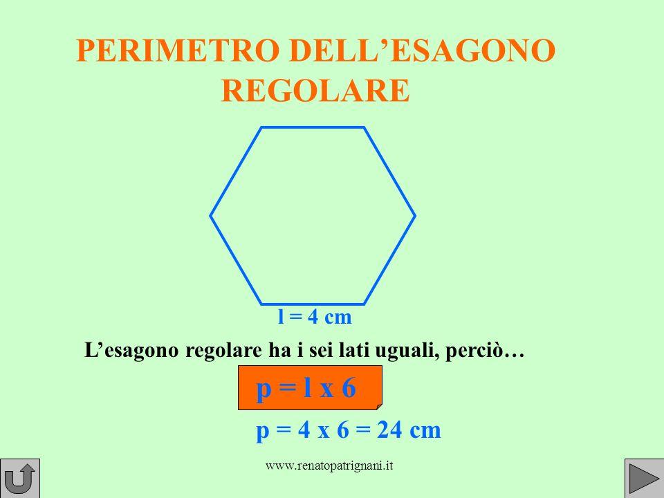 www.renatopatrignani.it PERIMETRO DELLESAGONO REGOLARE l = 4 cm Lesagono regolare ha i sei lati uguali, perciò… p = l x 6 p = 4 x 6 = 24 cm