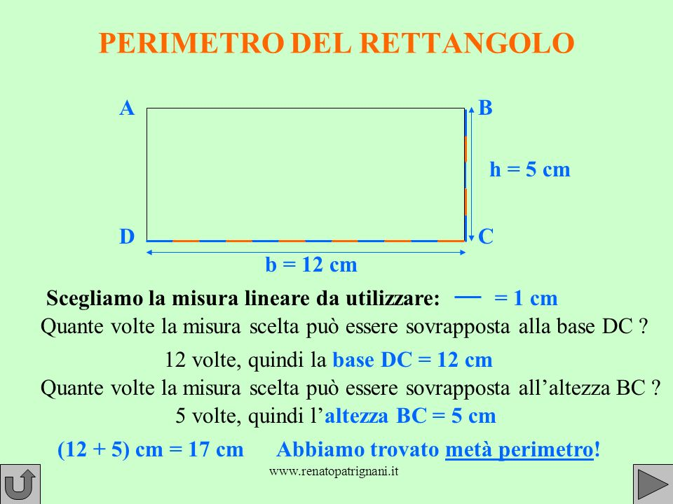 PERIMETRO DEL RETTANGOLO Scegliamo la misura lineare da utilizzare:= 1 cm Quante volte la misura scelta può essere sovrapposta alla base DC .