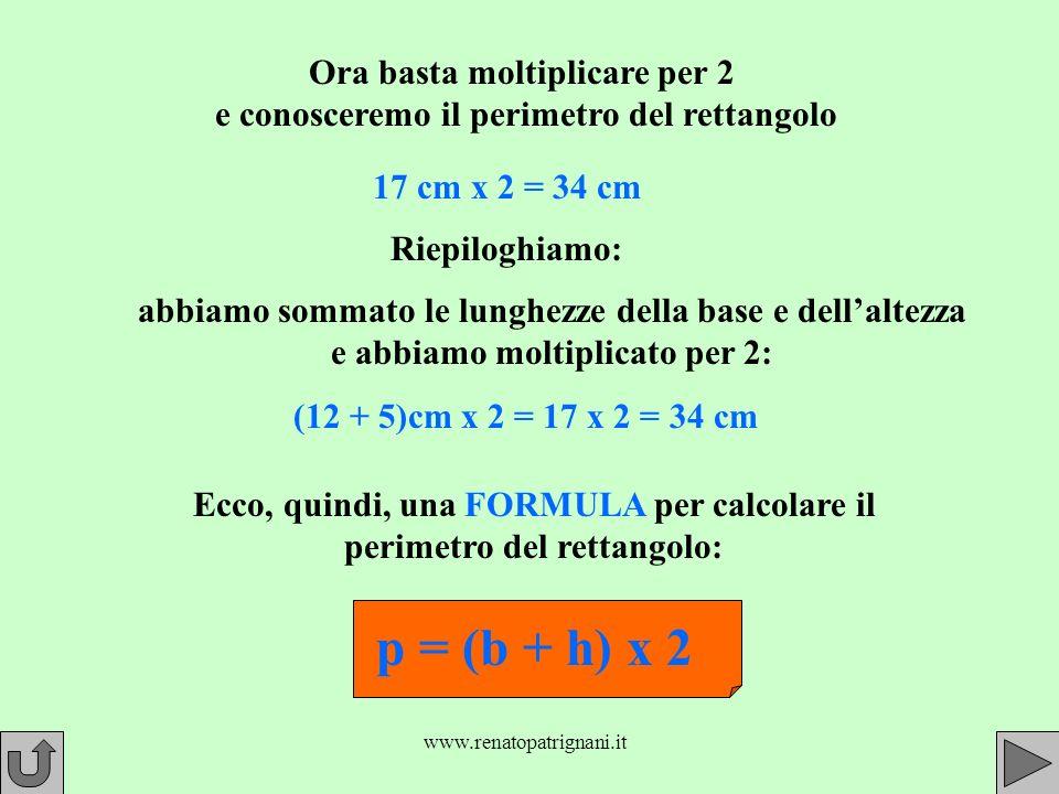 www.renatopatrignani.it Ora basta moltiplicare per 2 e conosceremo il perimetro del rettangolo 17 cm x 2 = 34 cm Riepiloghiamo: (12 + 5)cm x 2 = 17 x 2 = 34 cm abbiamo sommato le lunghezze della base e dellaltezza e abbiamo moltiplicato per 2: Ecco, quindi, una FORMULA per calcolare il perimetro del rettangolo: p = (b + h) x 2