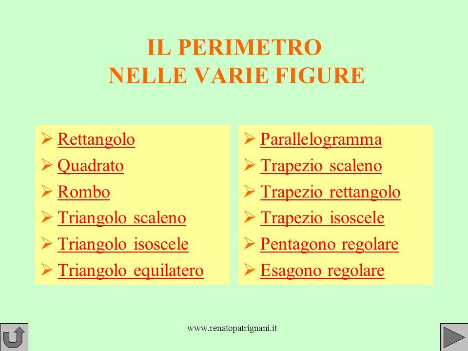 www.renatopatrignani.it IL PERIMETRO NELLE VARIE FIGURE Rettangolo Quadrato Rombo Triangolo scaleno Triangolo isoscele Triangolo equilatero Parallelogramma Trapezio scaleno Trapezio rettangolo Trapezio isoscele Pentagono regolare Esagono regolare