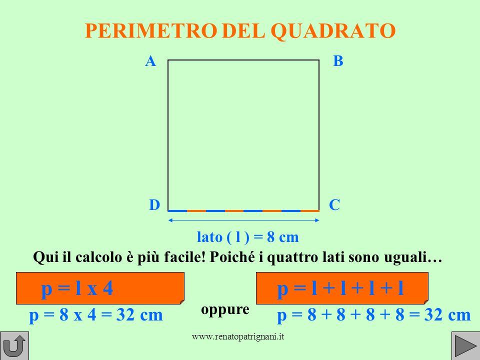 www.renatopatrignani.it PERIMETRO DEL QUADRATO Qui il calcolo è più facile.