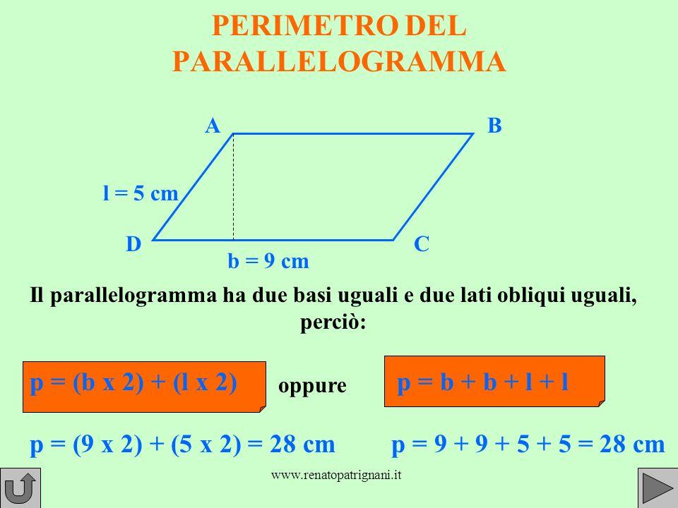 www.renatopatrignani.it PERIMETRO DEL PARALLELOGRAMMA b = 9 cm l = 5 cm Il parallelogramma ha due basi uguali e due lati obliqui uguali, perciò: p = b + b + l + lp = (b x 2) + (l x 2) p = (9 x 2) + (5 x 2) = 28 cmp = 9 + 9 + 5 + 5 = 28 cm oppure AB CD