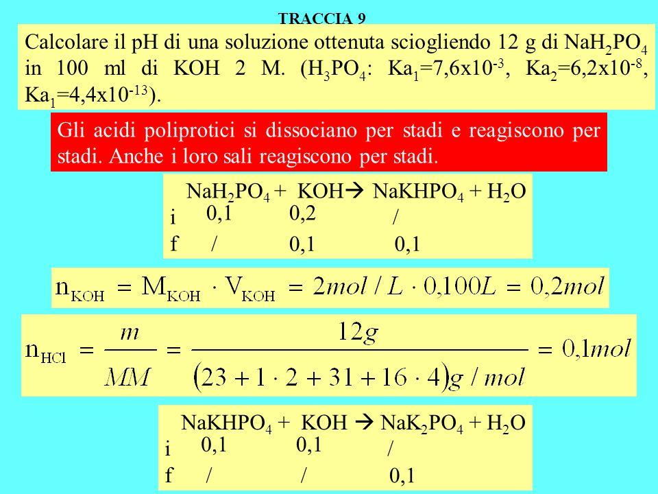 Calcolare il pH di una soluzione ottenuta sciogliendo 12 g di NaH 2 PO 4 in 100 ml di KOH 2 M. (H 3 PO 4 : Ka 1 =7,6x10 -3, Ka 2 =6,2x10 -8, Ka 1 =4,4