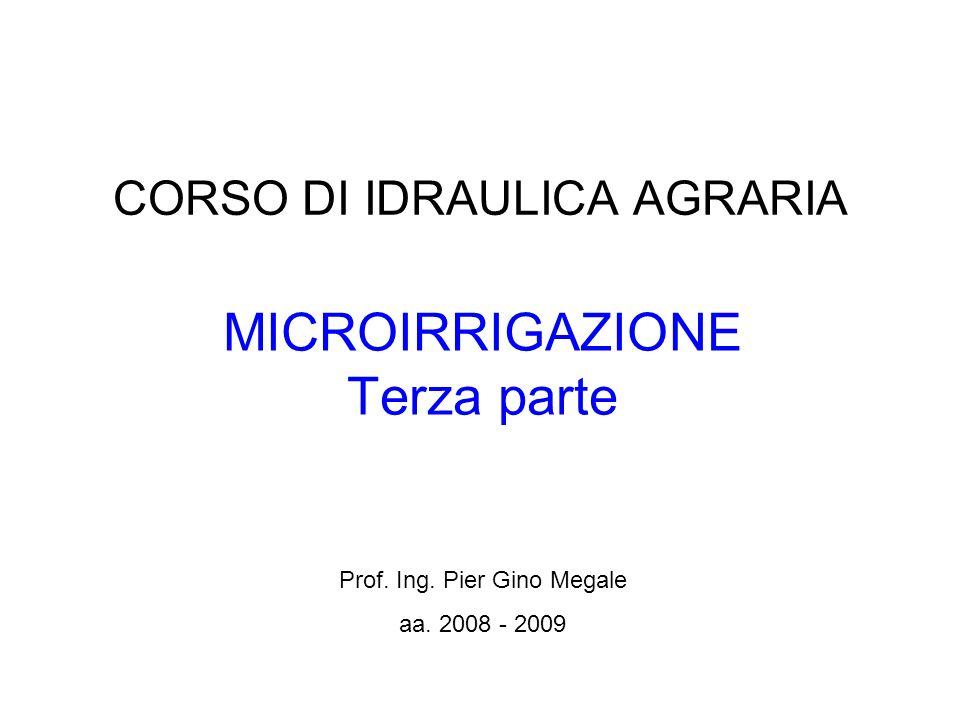 CORSO DI IDRAULICA AGRARIA MICROIRRIGAZIONE Terza parte Prof. Ing. Pier Gino Megale aa. 2008 - 2009