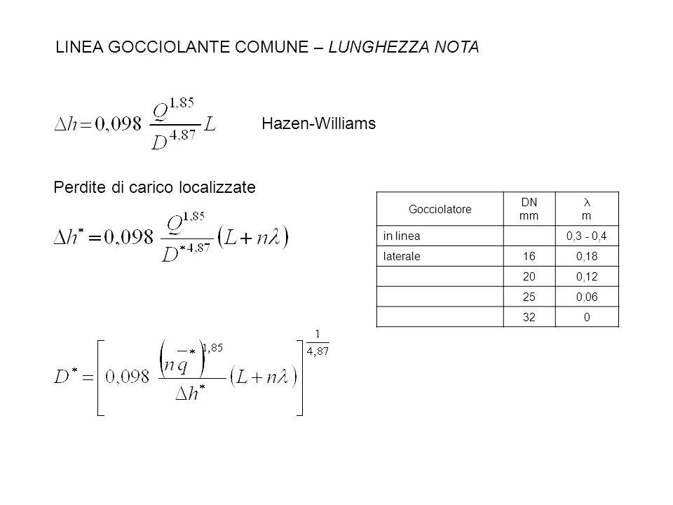 LINEA GOCCIOLANTE COMUNE – LUNGHEZZA NOTA Hazen-Williams Gocciolatore DN mm m in linea0,3 - 0,4 laterale160,18 200,12 250,06 320 Perdite di carico loc