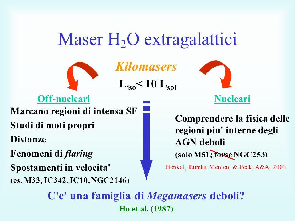Maser H 2 O extragalattici Kilomasers L iso < 10 L sol Off-nucleariNucleari Marcano regioni di intensa SF Studi di moti propri Distanze Fenomeni di flaring Spostamenti in velocita (es.