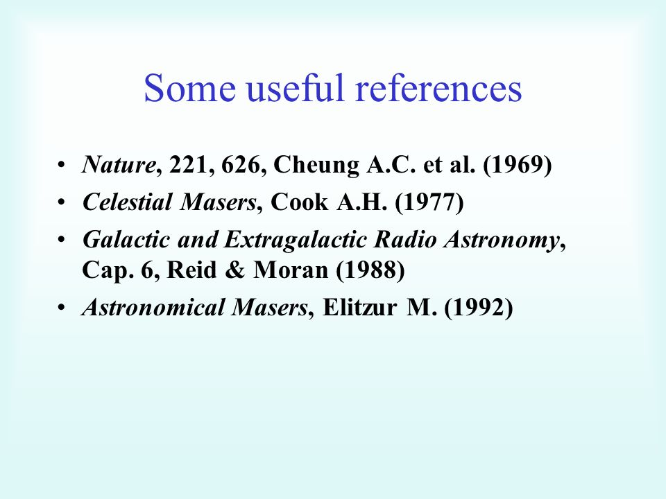 Some useful references Nature, 221, 626, Cheung A.C.