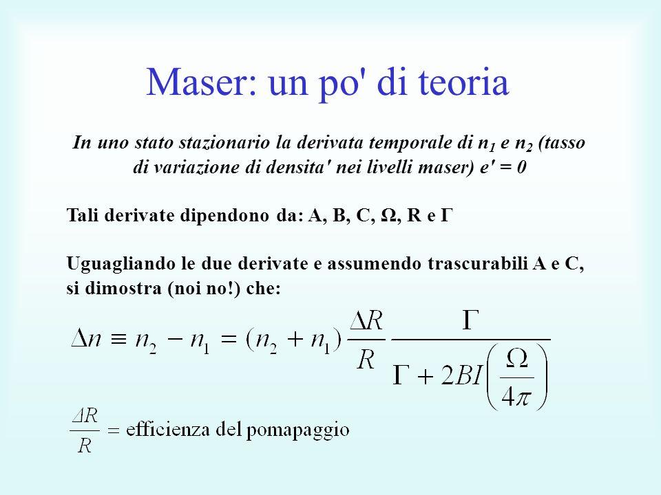 Maser: un po di teoria In uno stato stazionario la derivata temporale di n 1 e n 2 (tasso di variazione di densita nei livelli maser) e = 0 Tali derivate dipendono da: A, B, C, Ω, R e Γ Uguagliando le due derivate e assumendo trascurabili A e C, si dimostra (noi no!) che: