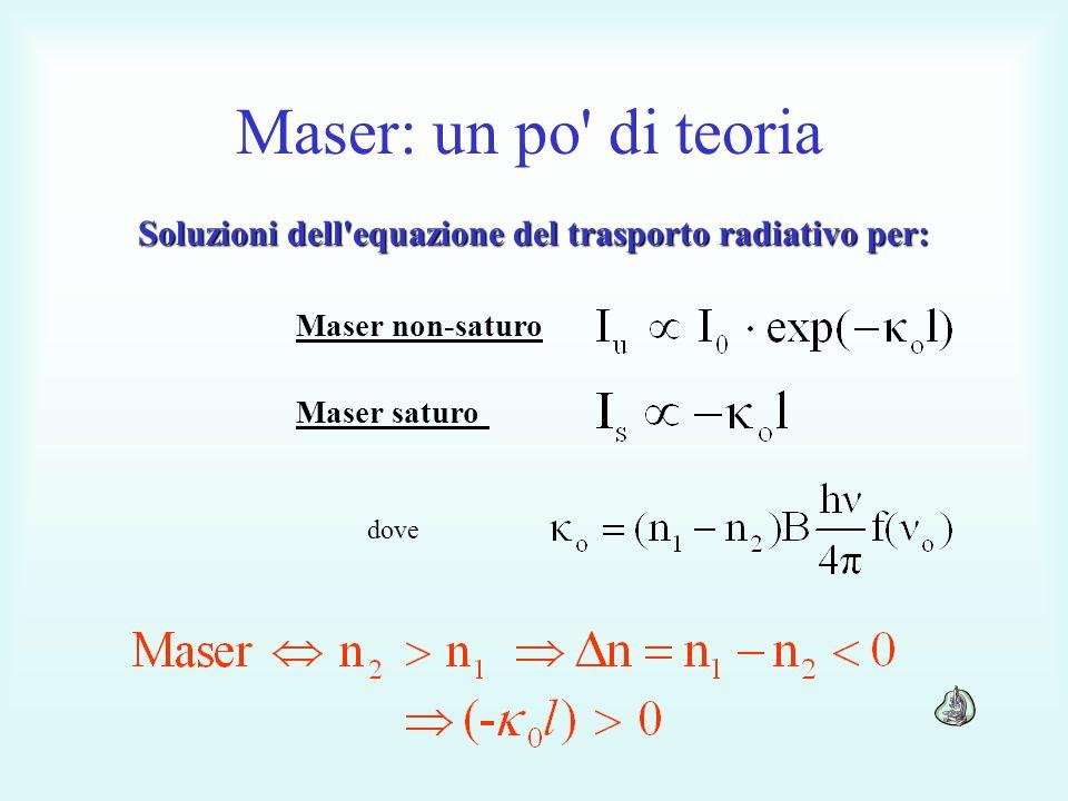 Soluzioni dell equazione del trasporto radiativo per: Maser non-saturo Maser saturo dove Maser: un po di teoria
