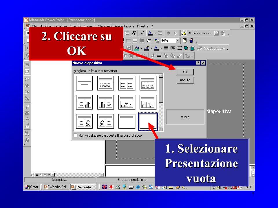 7 1. Selezionare Presentazione vuota 2. Cliccare su OK