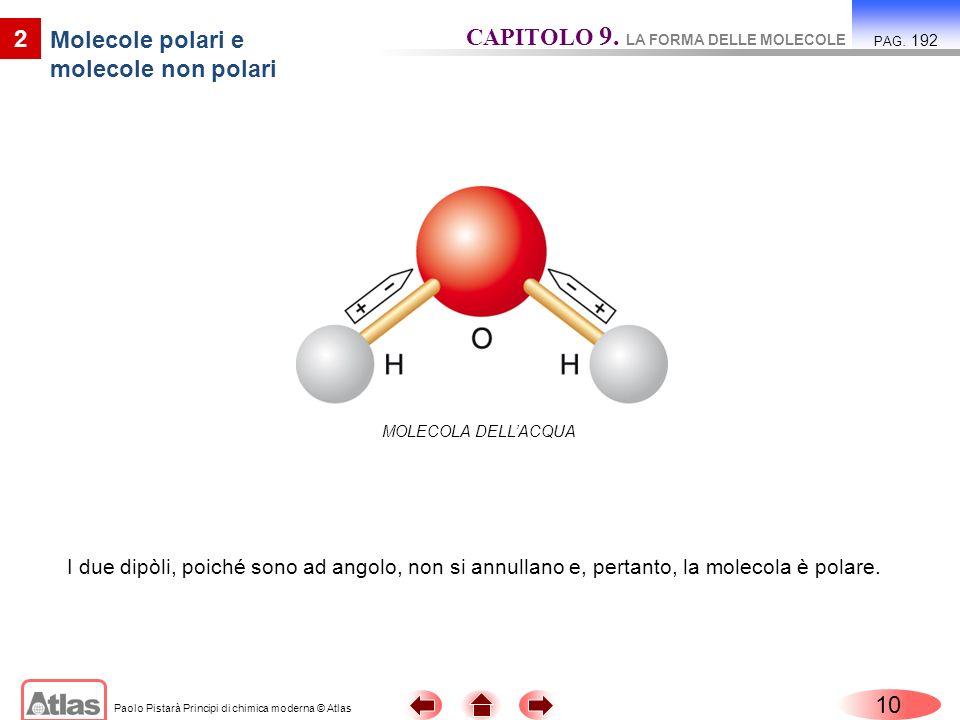 Paolo Pistarà Principi di chimica moderna © Atlas 10 2 Molecole polari e molecole non polari CAPITOLO 9. LA FORMA DELLE MOLECOLE PAG. 192 I due dipòli