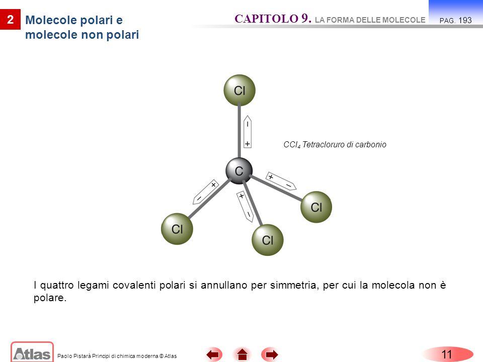 Paolo Pistarà Principi di chimica moderna © Atlas 11 2 Molecole polari e molecole non polari CAPITOLO 9. LA FORMA DELLE MOLECOLE PAG. 193 I quattro le