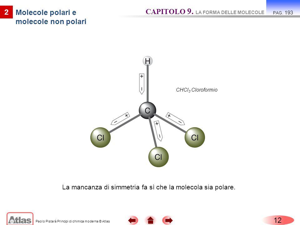 Paolo Pistarà Principi di chimica moderna © Atlas 12 2 Molecole polari e molecole non polari CAPITOLO 9. LA FORMA DELLE MOLECOLE PAG. 193 La mancanza