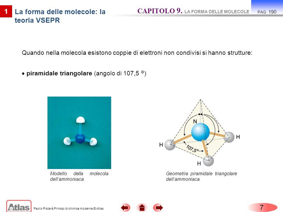 Paolo Pistarà Principi di chimica moderna © Atlas 7 CAPITOLO 9. LA FORMA DELLE MOLECOLE PAG. 190 1 La forma delle molecole: la teoria VSEPR Quando nel